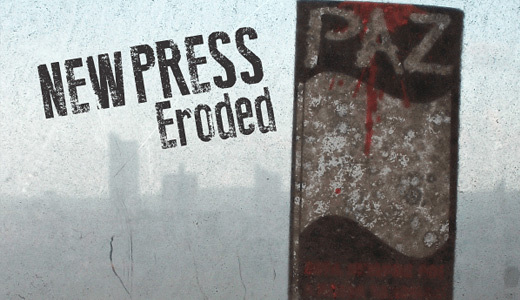 New Press Eroded<br /><br /><br />&#10;http://www.dafont.com/new-press-eroded.font