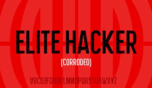 Elite Hacker Corroded<br /><br /><br />&#10;http://www.dafont.com/elite-hacker-corroded.font